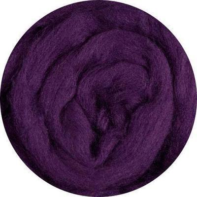Fine Merino Wool Roving -- Eggplant