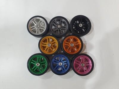 Brompton Pair 10 Spokes Pattern Aluminum CNC Machined EZwheels Easy Wheels with Bearings (Multi-S)