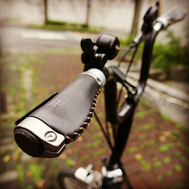 Short version leather grips (Ergonomic or Straight) for Brompton M or H bar