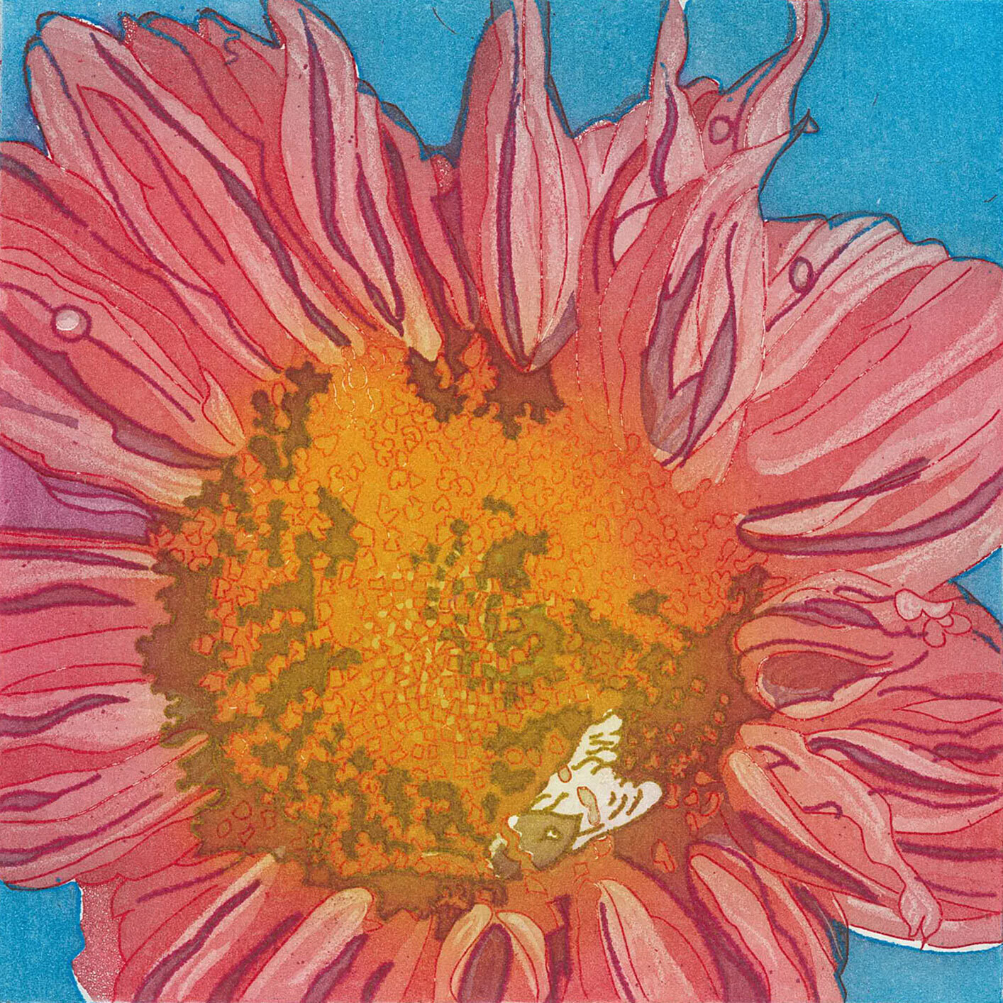 Ruby Sunflower Etching