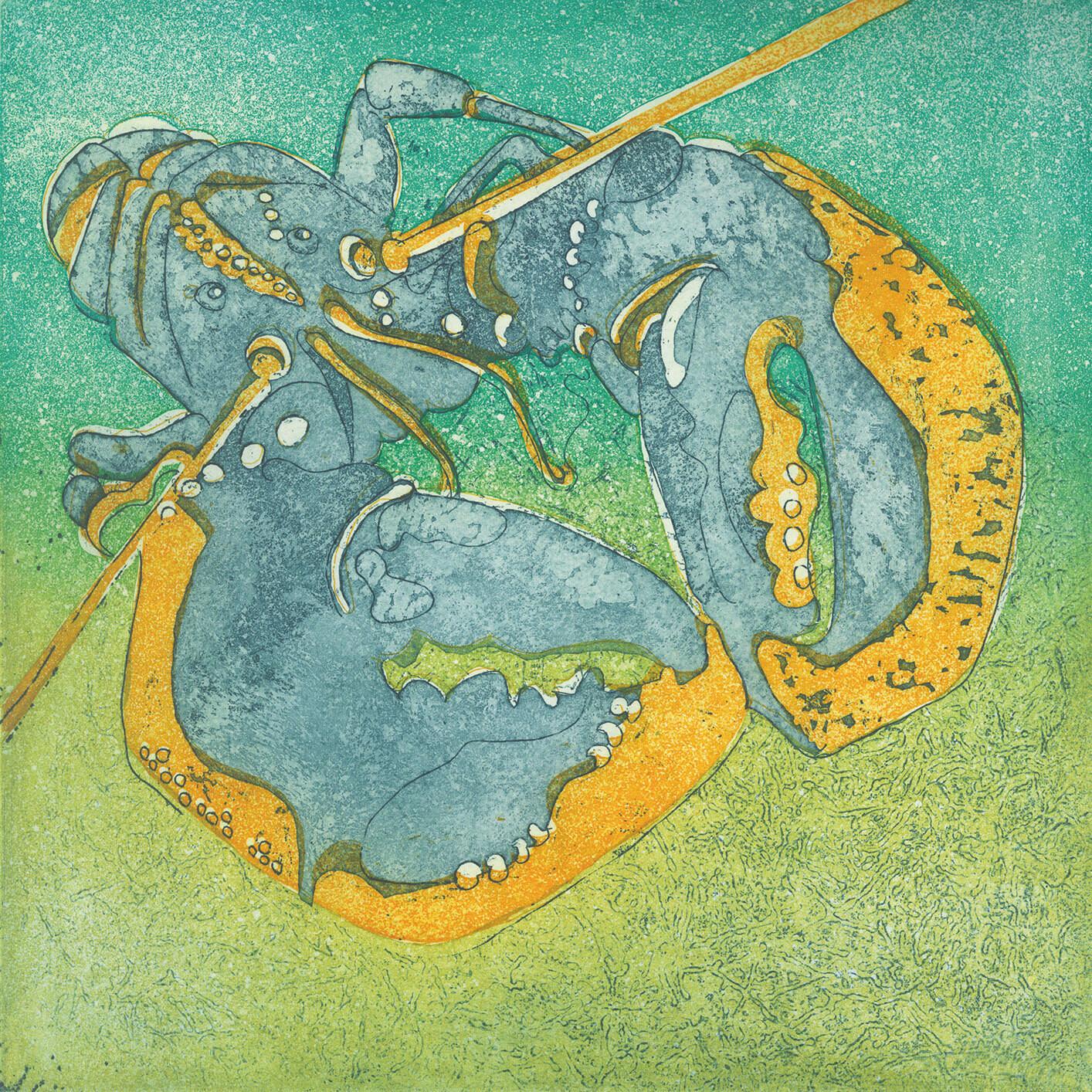 Blue Lobster Greetings Card