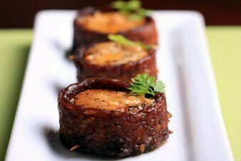 Bacon-Wrapped Scallops with Paprika Cream Sauce