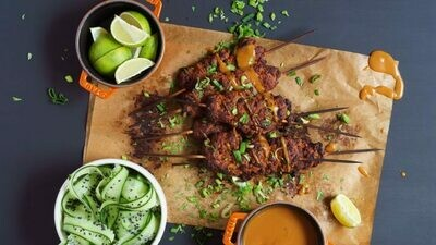 Smoky Seitan Kebabs With Peanut Sauce