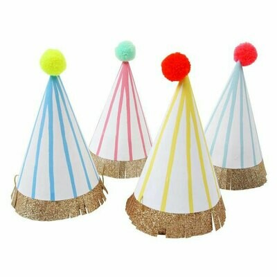 Stripe Pompom Party Hats