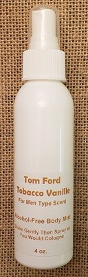 Alcohol Free Body Mist - Tom Ford Tobacco Vanille for Men Type