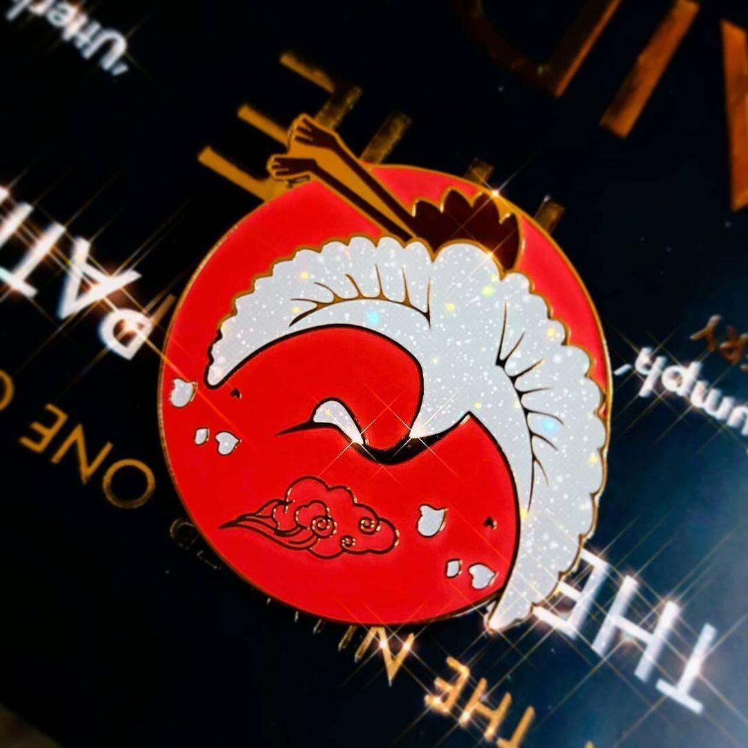 Six Crimson Cranes Enamel Pin