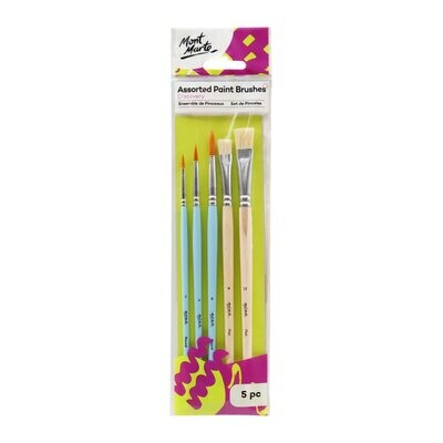 Mont Marte Discovery Assorted Paint Brushes, 5Pc