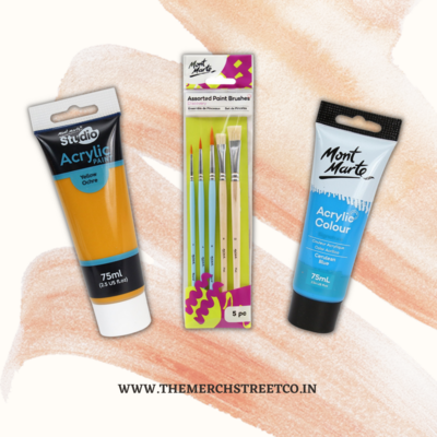 Assorted Paint Brushes, 5Pc and two Acrylic Paint Tube combo