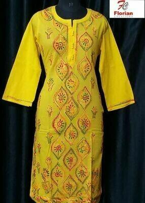Cotton Kurti Yellow