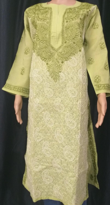 Green Cotton Lucknow Chikankari Kurti