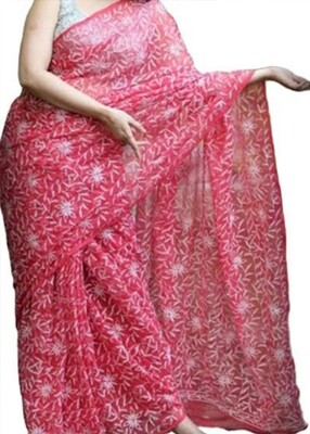 Faux Georgette Saree Pink