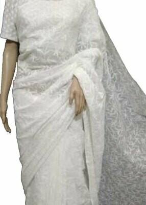 Cotton Tepchi full Jaal Saree white