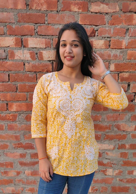 Yellow cotton Lucknow Chikankari top