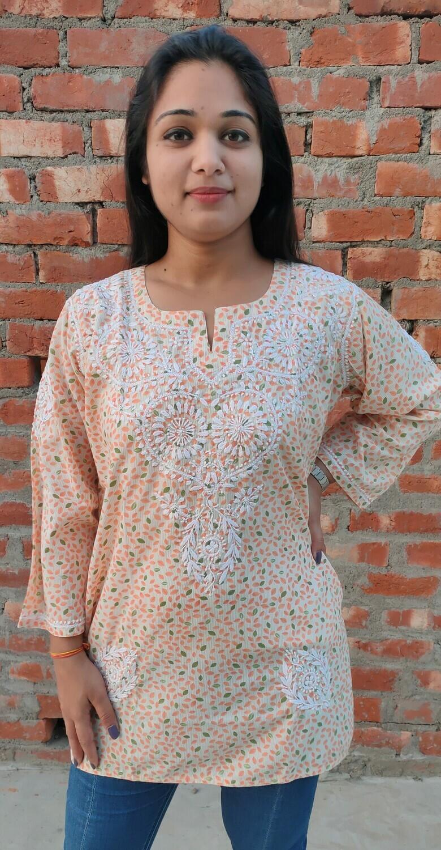 Cotton orange Lucknow Chikankari Top