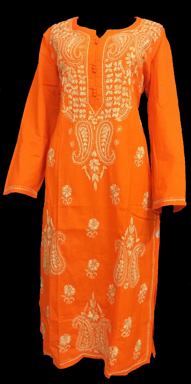 Cotton orange Lucknow Chikankari kurti