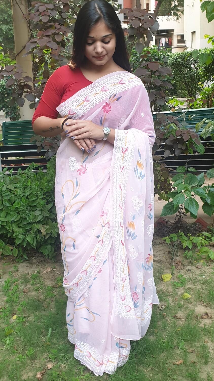 Light Pink Party Wear Lucknow Chikankari Saree