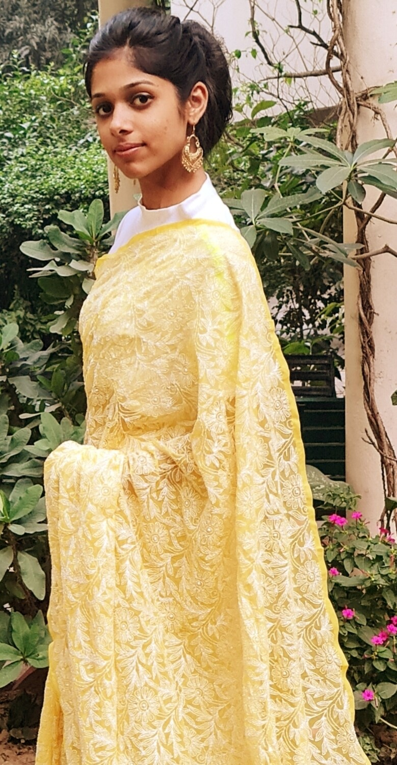Faux Georgette Tepchi Yellow Saree