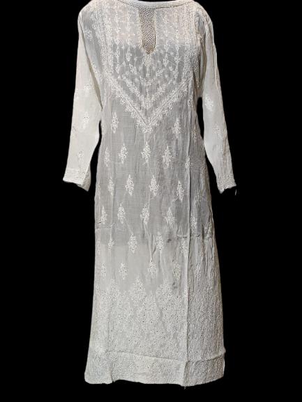 Pure Georgette Design White Kurti
