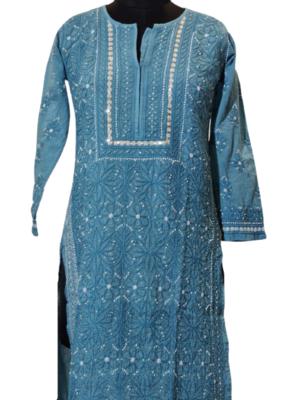 Blue Silk Kurti