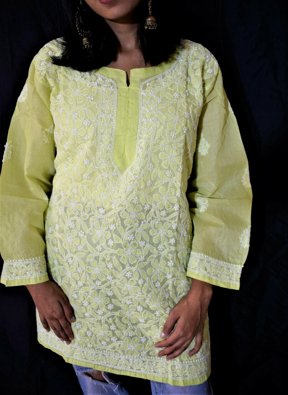 Green Cotton Chikankari Top