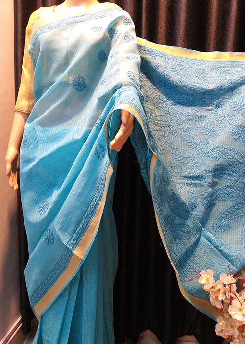 Chanderi Cotton Blue Saree
