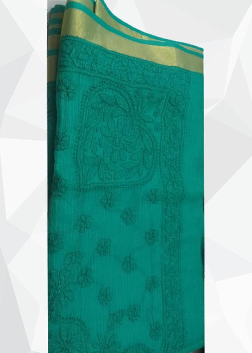 Chanderi Cotton Green Saree