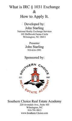 What is IRC 1031 Exchange elective #3482, Jan 13, 1p-5p, Wilmington (Hilton Garden Inn, 6745 Rock Spring Rd.)