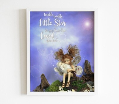 Digital Fairy Art Print with Ari and her Little Brother in the Fairy Forest, Printable quote sentence poem for little girl room