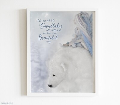 Little Blue Fairy and White Polar Bear picture for instant download and print, digital pdf file of fantasy fairy poster for little girl room