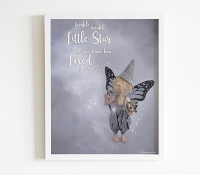 Printable Fairy Poster - digital download for printing of Anthony Cornflower