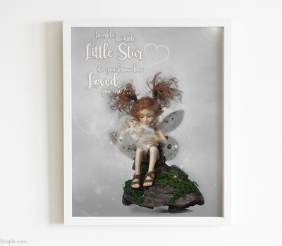 Little Fairy Digital Picture for Download, Fairy Poster for instant download, Decoration for little girl's room