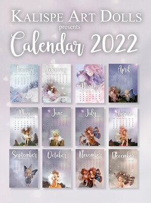 PRESALE: Monthly Calendar 2022 for instant download with fairies and dragons made by Kallispe Art Dolls, only digitalfile for download