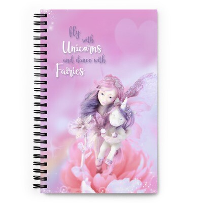 Spiral notebook with Flower Fairy and Magic Unicorn for little girl for Birthsday present Christmas gift