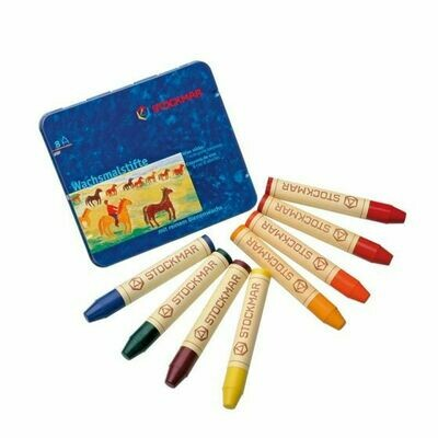 Stockmar Wax Stick Crayons Waldorf Tin Case - 8 Assorted