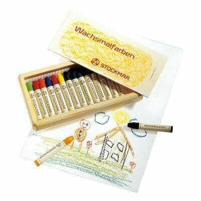 Stockmar Wax Crayons 16 Asstd. in Wooden Box