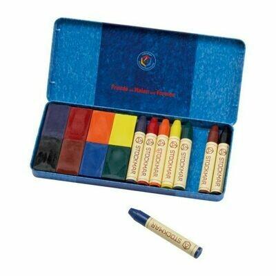 Stockmar Combined Ass. 8 Crayons+8 Blocks Tin Case