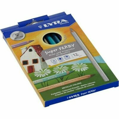 Lyra Pencils Super Ferby Lacquered Triangular - 12 Assorted Metallic Colors
