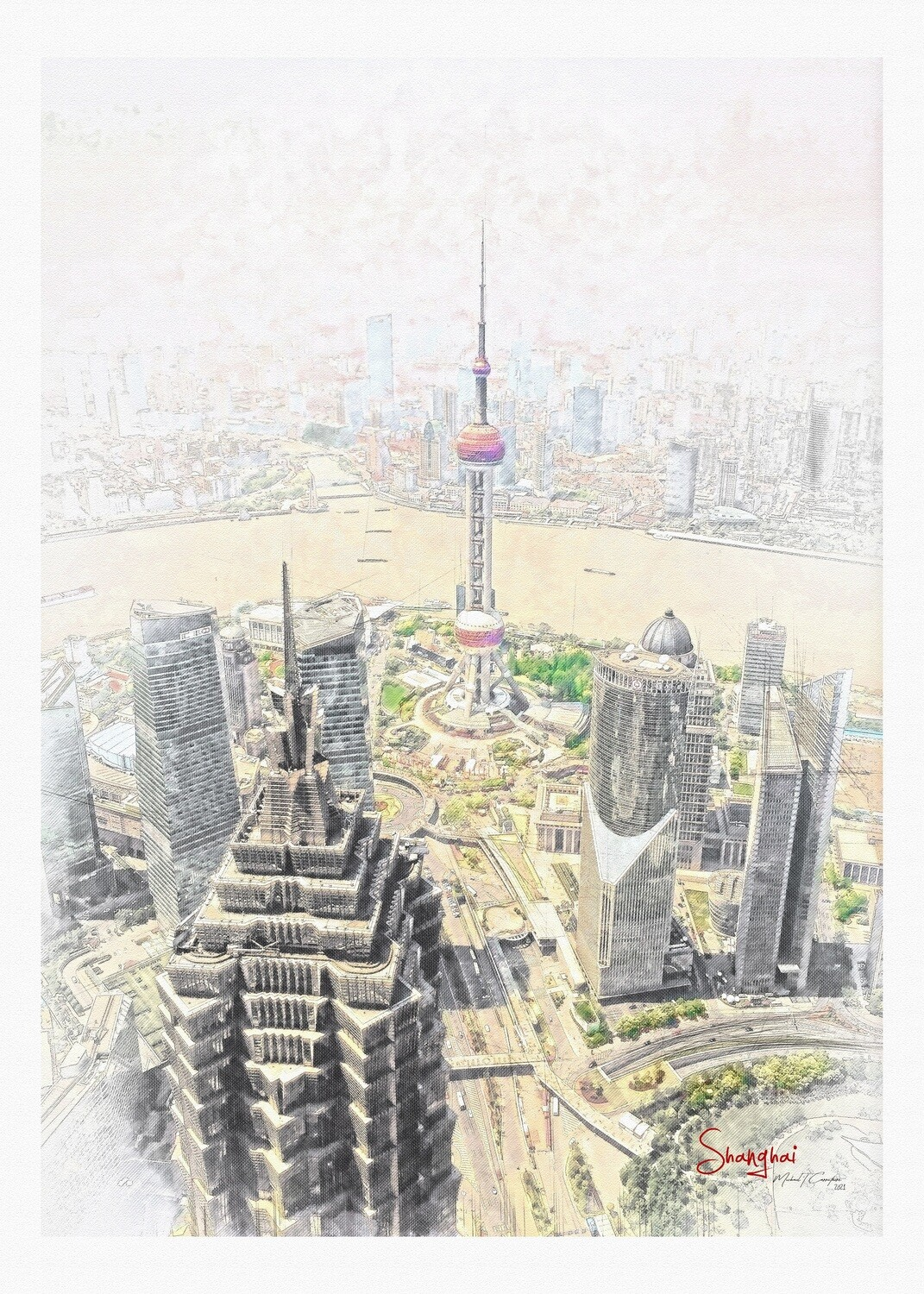 Shanghai viewed from the Bottle Opener Building 2021- Poster
