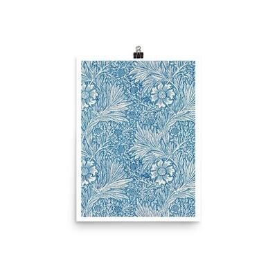 Blue marigold illustration Poster by William Morris