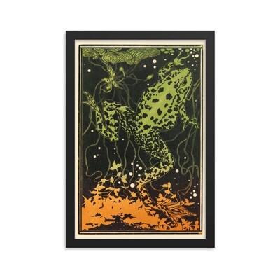 Swimming frog framed poster by Julie de Graag (1877-1924)