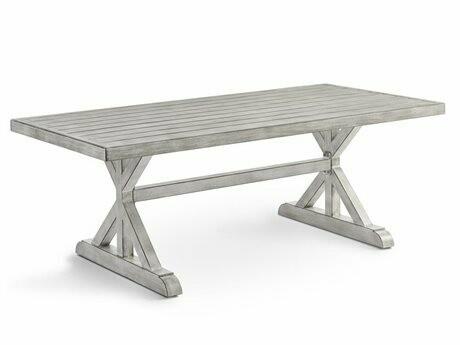 South Sea Rattan Dover Aluminum Chalk Grey 72''W x 42''D Rectangular Dining Table