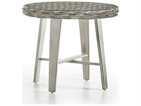 South Sea Rattan Grand Isle Wicker 24'' Wide Round Glass Top End Table