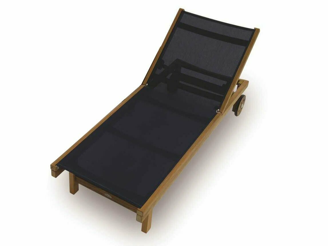 Royal Teak Collection Sundaze Navy Sling Adjustable Chaise Lounge