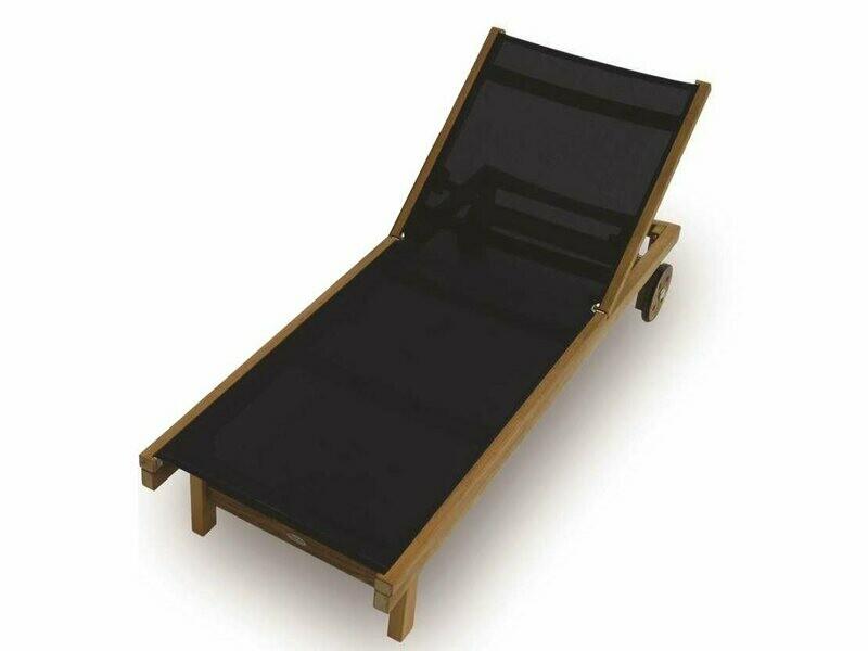 Royal Teak Collection Sundaze Black Sling Adjustable Chaise Lounge