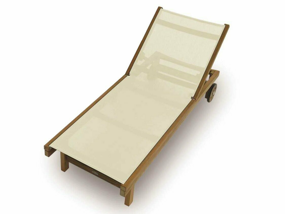 Royal Teak Collection Sundaze White Sling Adjustable Chaise Lounge