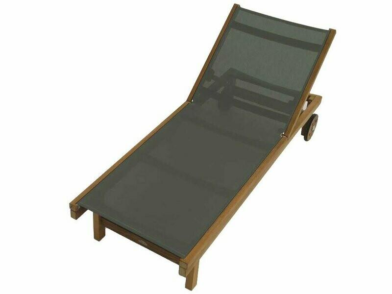 Royal Teak Collection Sundaze Moss Sling Adjustable Chaise Lounge