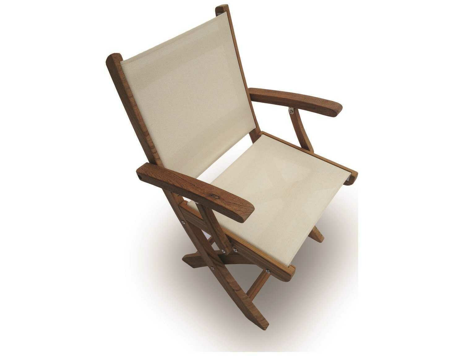 Royal Teak Collection Sailmate White Sling Folding Dining Arm Chair