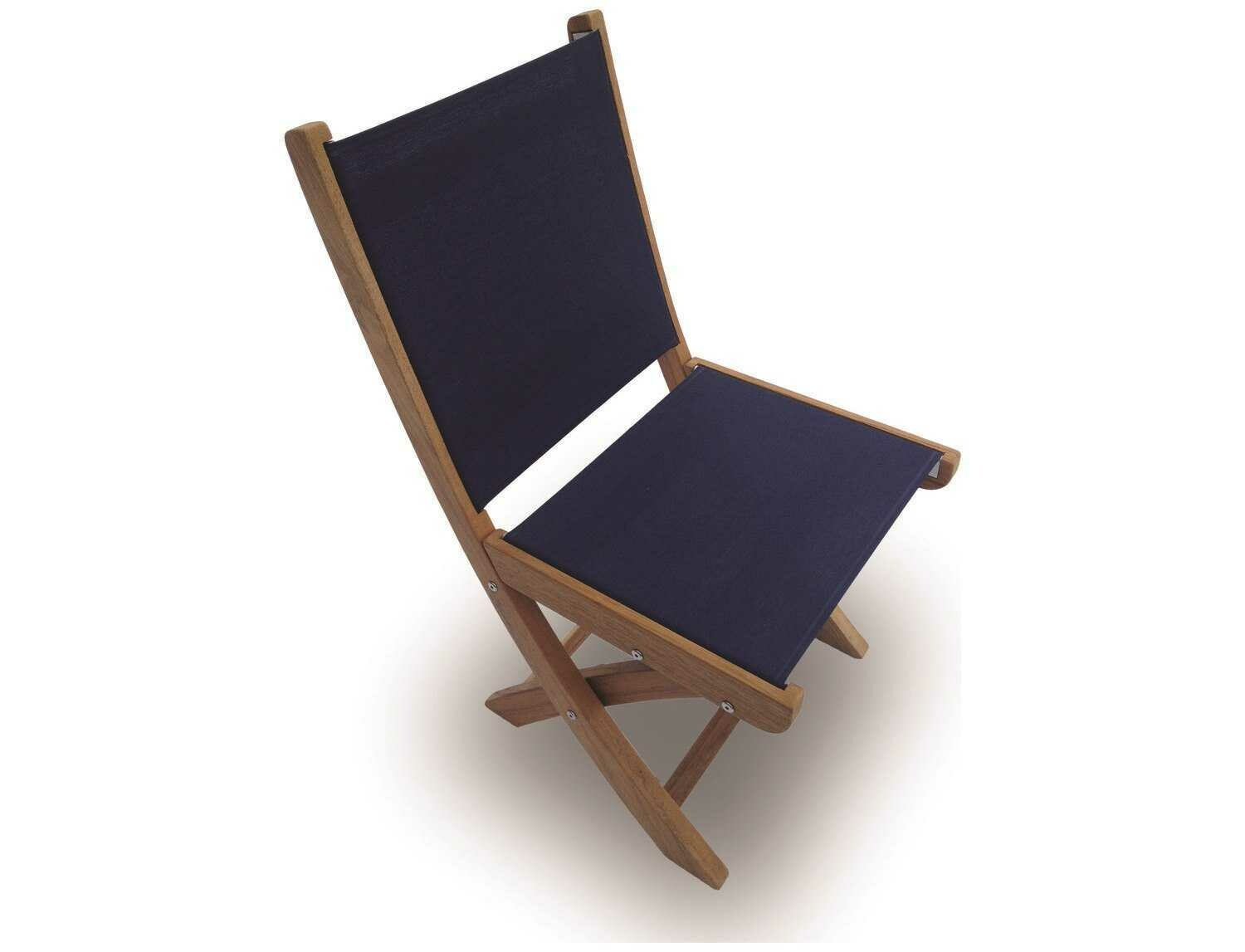Royal Teak Collection Sailmate Navy Sling Folding Dining Side Chair