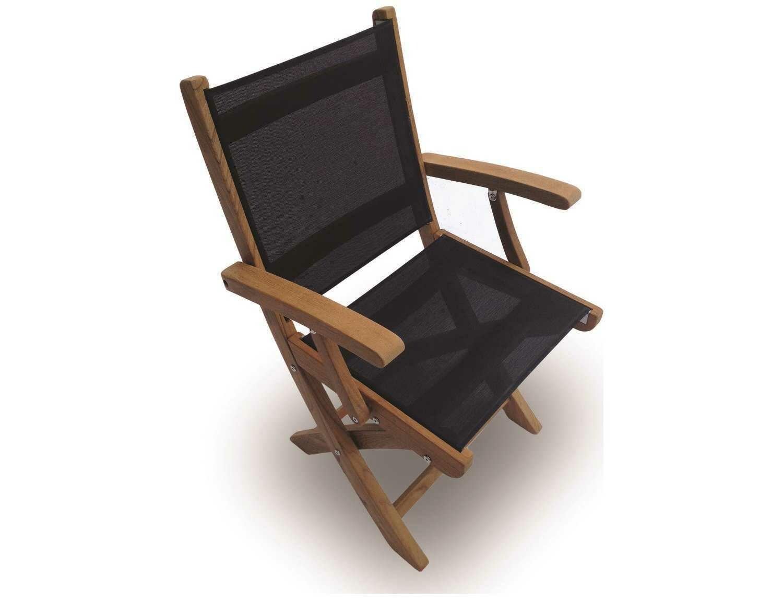 Royal Teak Collection Sailmate Black Sling Folding Dining Arm Chair