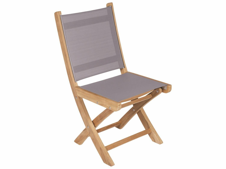Royal Teak Collection Sailmate Folding Side Chair - Gray Sling